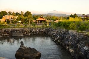 Resort framed by misty hills
